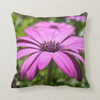 Side View Of A Purple Osteospermum With Garden Bac Throw Pillow