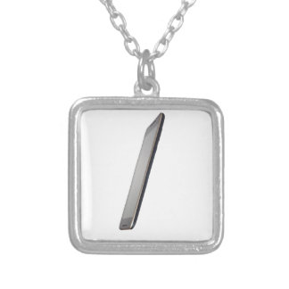 Side view of a touch screen smartphone square pendant necklace