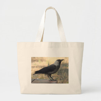 Side View Of A Wild Jackdaw Large Tote Bag
