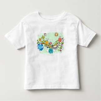Side view of children playing on tree branch shirt