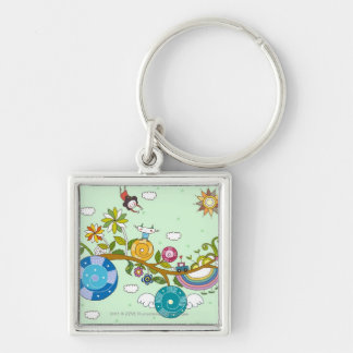 Side view of children playing on tree branch Silver-Colored square keychain