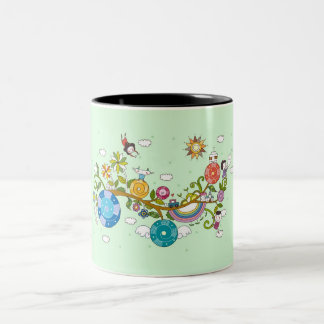 Side view of children playing on tree branch Two-Tone coffee mug