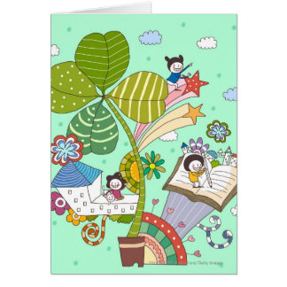 Side view of children studying by potted plant card