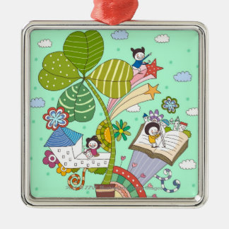 Side view of children studying by potted plant christmas ornaments
