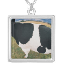 Side View of Friesian Cow Silver Plated Necklace