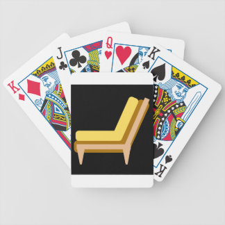 Side view of home or office furniture- sofa bicycle playing cards
