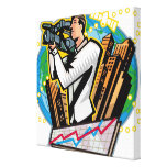 Side view of man shooting canvas print