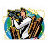 Side view of man shooting postcard