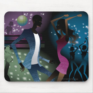 Side view of people dancing by microphone mouse pad