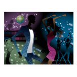 Side view of people dancing by microphone post cards