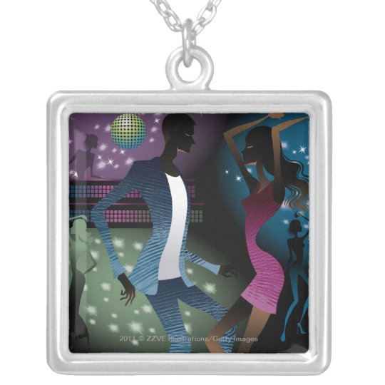 Side view of people dancing by microphone silver plated necklace