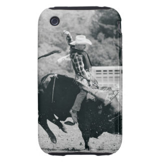 Side view of rider hanging on to bucking bull tough iPhone 3 cover