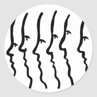 Side view of simple faces, six men. classic round sticker