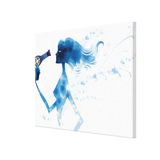 Side view of woman blow drying long hair canvas print