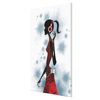 Side view of woman listening music canvas print