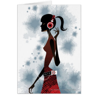 Side view of woman listening music card
