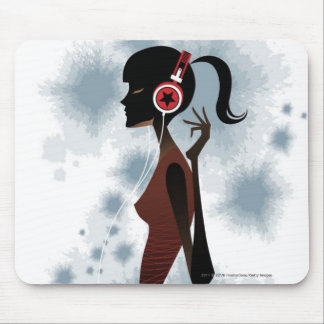 Side view of woman listening music mouse pad