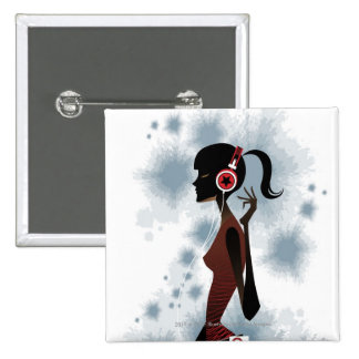Side view of woman listening music pinback button