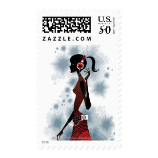 Side view of woman listening music postage