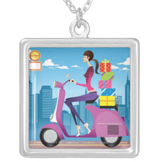 Side view of woman with gifts on scooter square pendant necklace