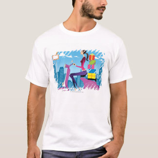 Side view of woman with gifts on scooter T-Shirt