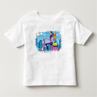 Side view of woman with gifts on scooter toddler t-shirt