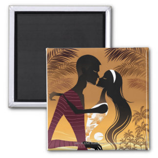 Side view of young couple standing in beach 2 inch square magnet