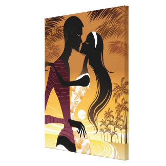 Side view of young couple standing in beach canvas print