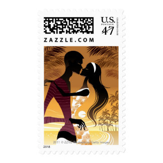 Side view of young couple standing in beach stamp