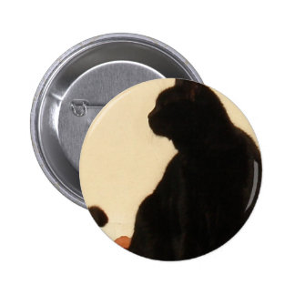 Side View Silhouette of A Black Cat Sitting On A R 2 Inch Round Button