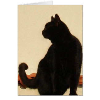 Side View Silhouette of A Black Cat Sitting On A R Card