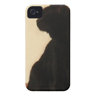 Side View Silhouette of A Black Cat Sitting On A R Case-Mate iPhone 4 Case