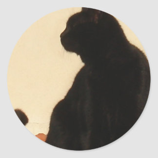 Side View Silhouette of A Black Cat Sitting On A R Classic Round Sticker