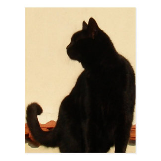 Side View Silhouette of A Black Cat Sitting On A R Postcard
