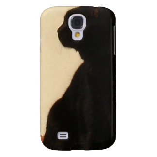 Side View Silhouette of A Black Cat Sitting On A R Samsung Galaxy S4 Case