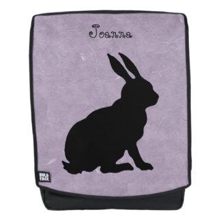 Side View Sitting Black Silhouette Rabbit Purple Backpack
