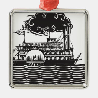 Side wheel Riverboat in waves Metal Ornament