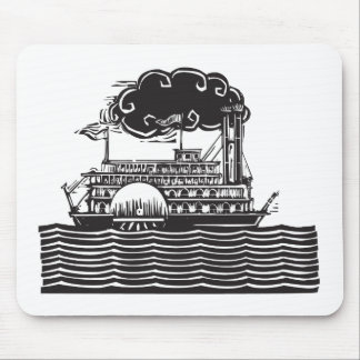 Side wheel Riverboat in waves Mouse Pad