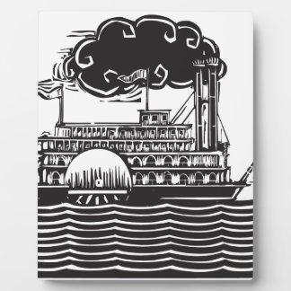 Side wheel Riverboat in waves Plaques