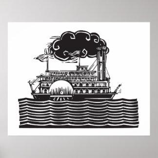 Side wheel Riverboat in waves Poster