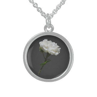 Side White Rose Round Pendant Necklace