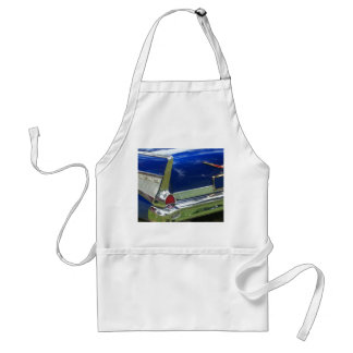 Side white tailfin on blue classic car adult apron