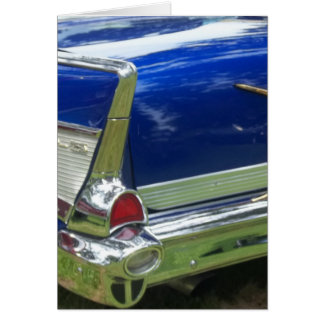 Side white tailfin on blue classic car greeting card