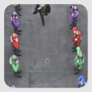 Sideboys del arco iris de la marina de guerra de pegatina cuadrada