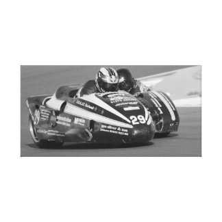 Sidecar outfit at racing track canvas print