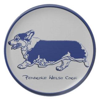 Sidegait - Tricolor Pembroke Welsh Corgi Melamine Plate