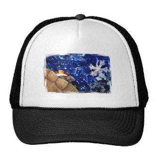 Sideneck Turtle eyeing a star on blue tinsel Trucker Hat