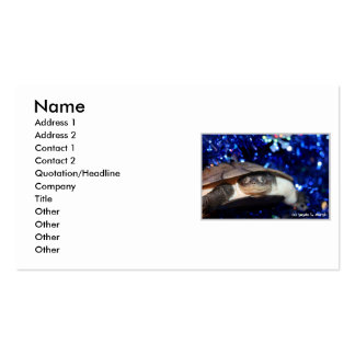 Sideneck turtle looking at viewer on blue tinsel business card templates