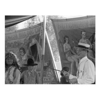 Sideshow Barker, 1938 Postcard