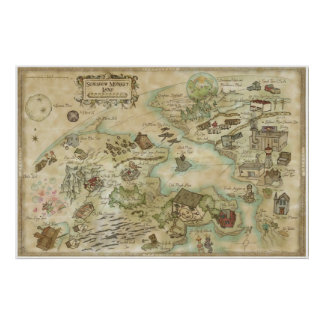 Sideshow Monkey World Map Poster